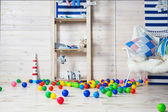 Nursery with colorful toys and balls — Stock Photo