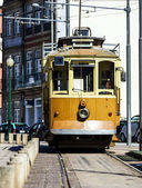 Retro yellow tram on the street — Foto Stock
