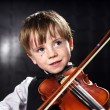 Freckled red-hair boy playing violin. — Stock Photo #49574003
