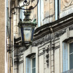 Retro street lantern on the house wall — Stock Photo