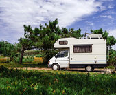 Touristic caravan in a forest — Photo
