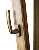 Window handle on fiberglass window. Gold color. — Stock Photo