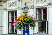 Antique iron street lamp in Budapest (Hungary). — Stock Photo