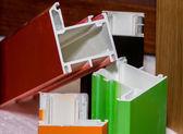 Colorised fiberglass profile samples for windows — Stock Photo