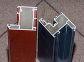 Colorised fiberglass profile samples for windows — Stock Photo