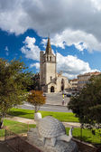 Tarascon church view with tarasque sculpture — Stock Photo