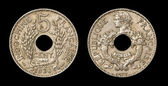 Antique coin of 5 centimes — Stock Photo