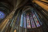 Majestic Carcassone cathedral interiors. Sun light. — Foto Stock