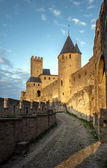 Carcassone fortress at evening sunset. — Foto de Stock