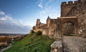 Carcassone fortress at evening sunset. — Stock Photo