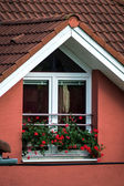 Window decorated by natural flowers in small village — Stockfoto