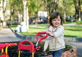 Cute little girl on playground — Stockfoto