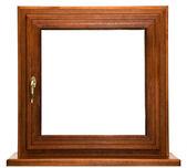 Oak laminated fiberglass window with gold handle  — Stock Photo