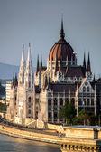 Budapest center birdfly view on sunset. — Stock Photo