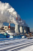 Central Heating and Power Plant. Cold winter day. — Stok fotoğraf