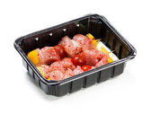Flesh meat product for cooking packed in box — Stock Photo