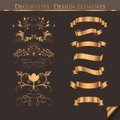 Golden Decorative Design Elements — Stock Vector