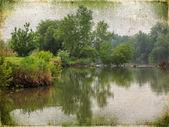 Spring river landscape. Vintage background in the style of an ol — Stock Photo