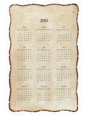 Old, decrepit calendar 2015 with charred edges, grunge. Isolated — Stock Photo