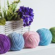 Assorted balls of natural colored yarn — Stock Photo #50863803