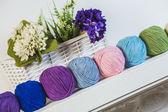 Colorful balls of woolen yarn — Stock Photo