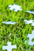 White puzzle, blurred — Stock Photo