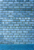 Background texture of blue-gray brick wall with cement frame — Stock Photo