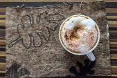 Top view of Cappuccino coffee — Stock Photo