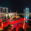 Cityscape of Singapore night in twilight time : Marina Bay view from Esplanade — Zdjęcie stockowe