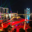 Cityscape of Singapore night in twilight time : Marina Bay view from Esplanade — Foto de Stock