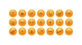 Orange vector icons - turism icon set — Stockvektor