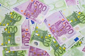 100 and 500 euro money banknotes — Stock Photo