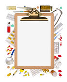 Blank clipboard with paper and medical supplies — Stock Photo