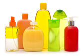 Shampoo bottles and soap — Stock Photo