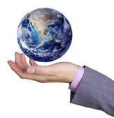 Earth globe in hand — Stock Photo