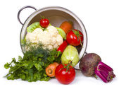 Fresh vegetables in overturned pot — Stock Photo