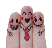 Painted  happy fingers — Stock Photo