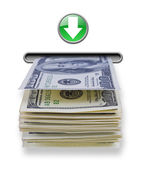 Money stack dispensed from imaginary atm cash machine — Stock Photo