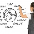 """Young girl writes on white board the word """"Hello"""" — Stock Photo #50397385"""