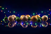 Christmas decorations bulb and lights — Stock Photo
