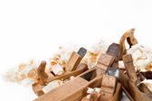 Planers with wooden chips, wood shavings — Stock Photo