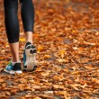 Young woman running in the early evening autumn leaves — Stock Photo #49795907