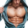 Strong Athletic Man Fitness Model Torso showing six pack abs. is — Stock Photo #49796563