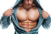 Strong Athletic Man Fitness Model Torso showing six pack abs. is — Stock Photo