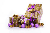 Gift boxes and christmas balls,Isolated on white — Foto de Stock