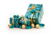 Gift boxes and christmas balls,Isolated on white — Stock Photo