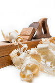 Planer with wooden chips — Foto de Stock