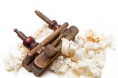 Planer with wooden chips — Stock Photo