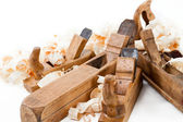 Planer with wooden chips — Foto Stock