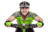 Young Male Cyclist With His Bicycle — Stock Photo
